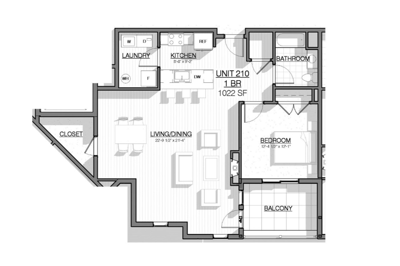 2 West floor plan unit 210 1 bedroom 1 bathroom