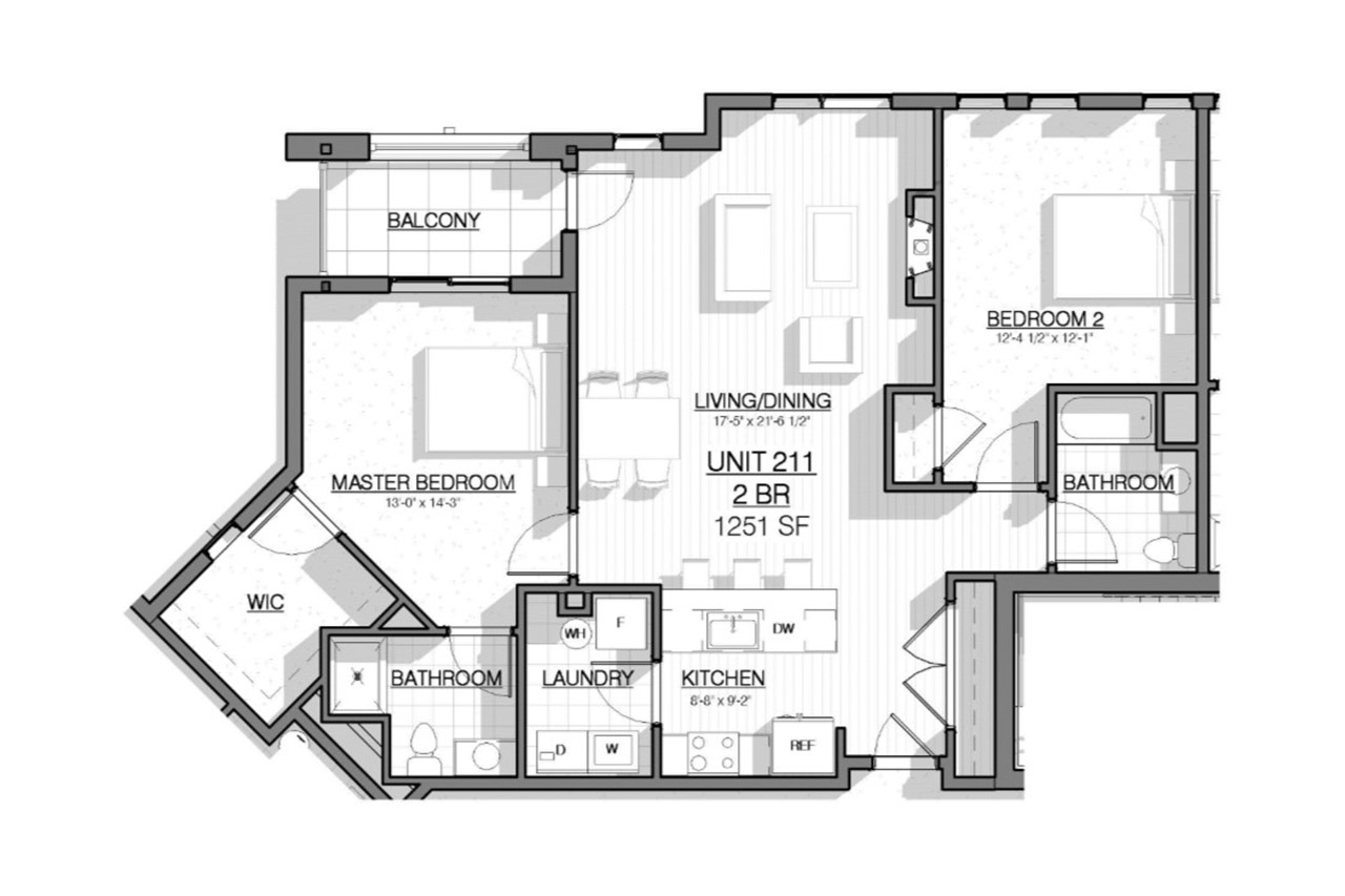 2 West floor plan unit 311 2 bedrooms 2 bathrooms