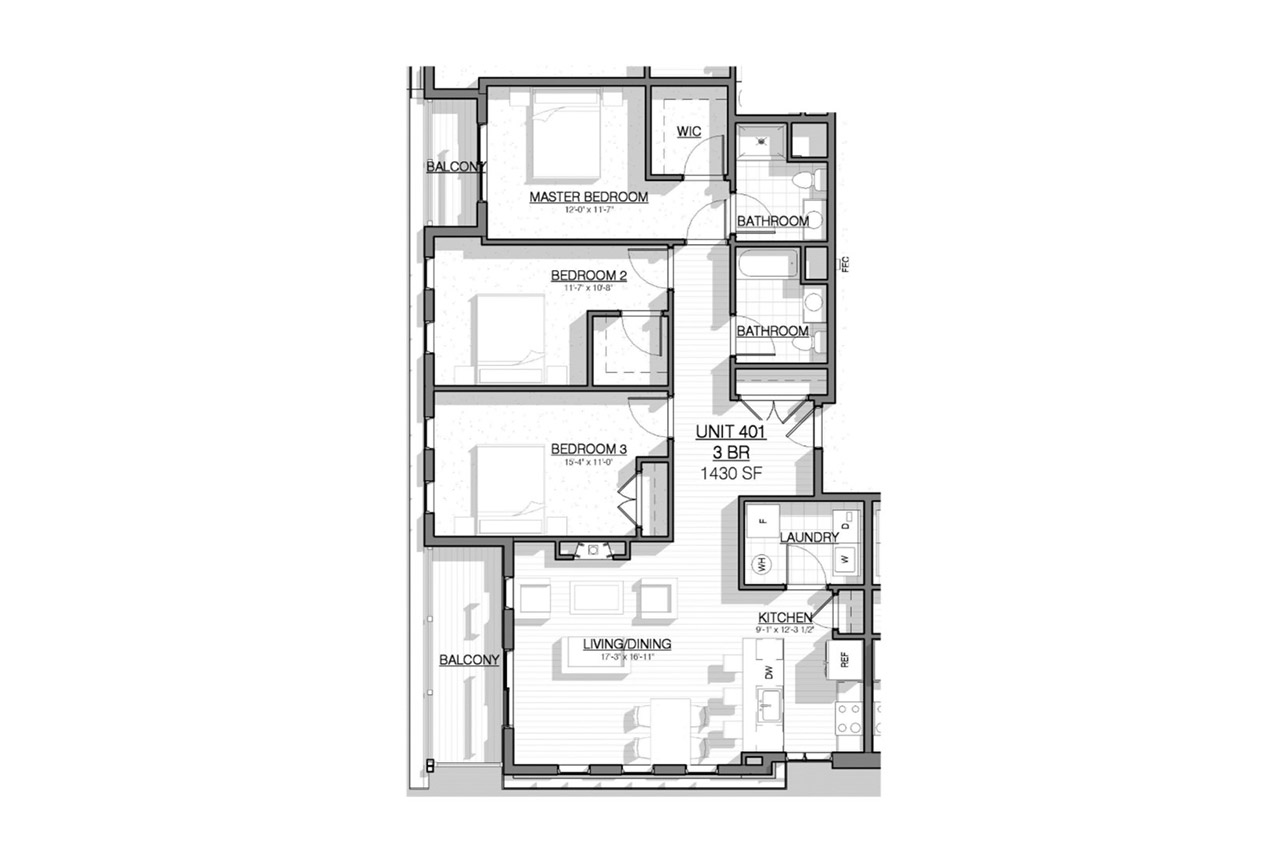 2 West floor plan unit 401 3 bedrooms 2 bathrooms