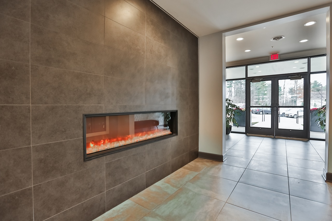 2 West lobby fireplace and entrance