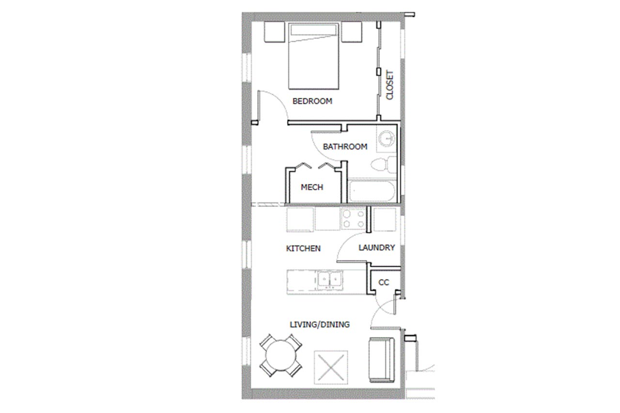 33 Second Street floor plan 1 bedroom 1 bathroom