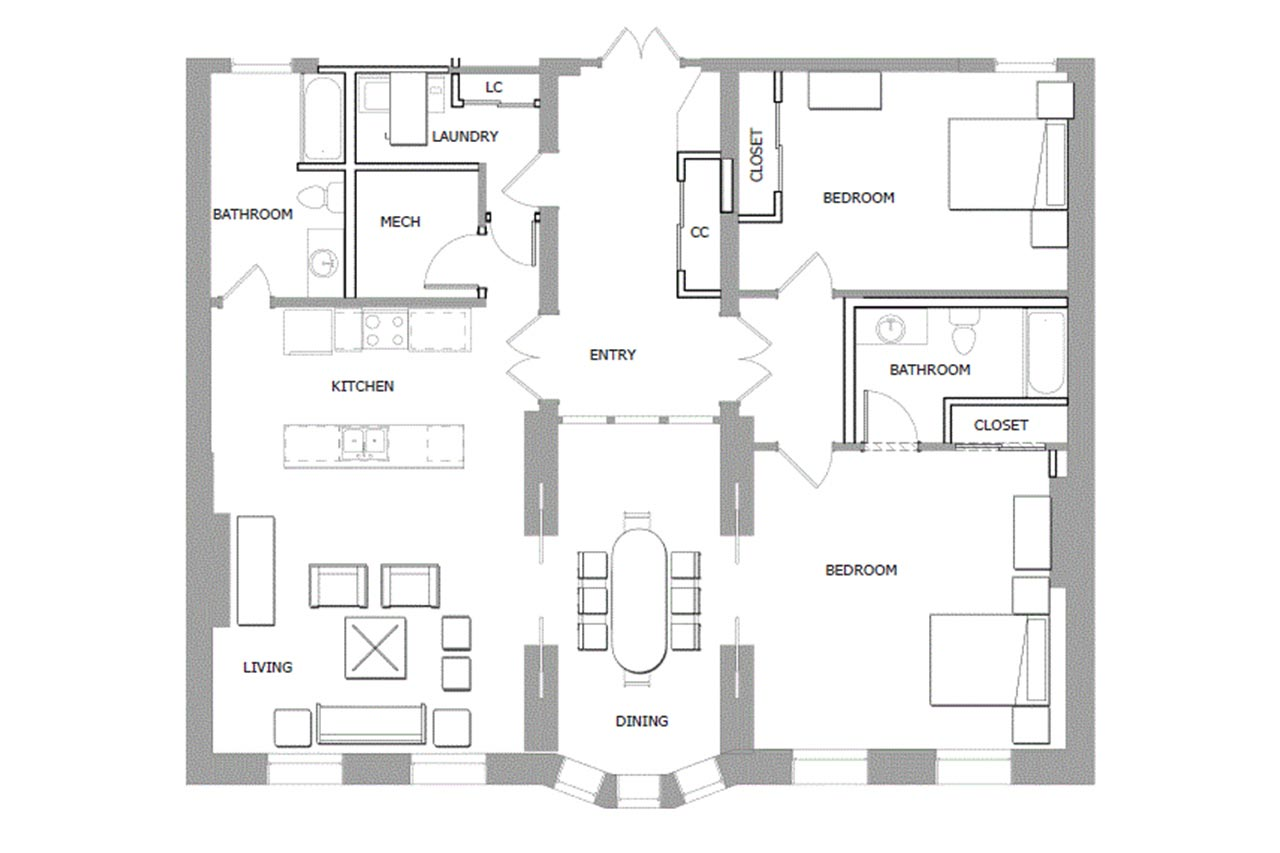 33 Second Street floor plan unit 301 2 bedrooms 2 bathrooms