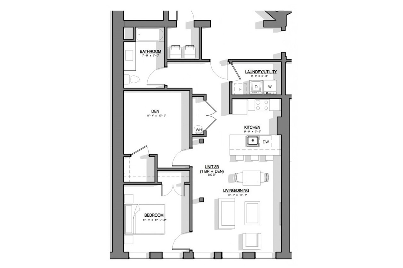 River Triangle Building floor plan unit 3b 1 bedroom 1 bathroom den