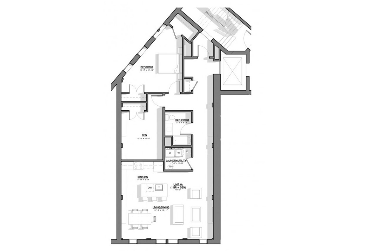 River Triangle Building floor plan unit 4a 1 bedroom 1 bathroom den