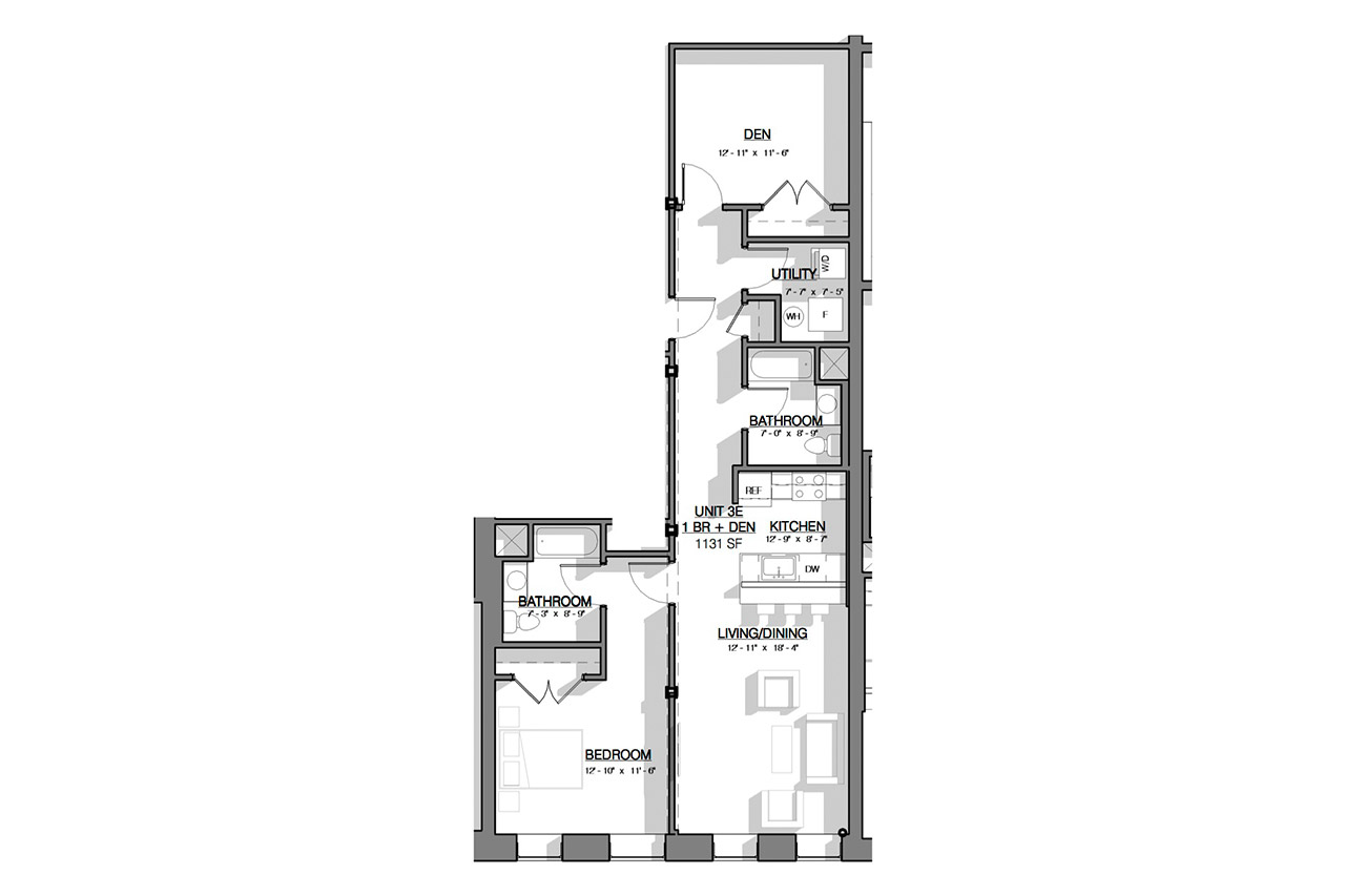The Dauchy Building floor plan unit 2e 1 bedroom 2 bathrooms den