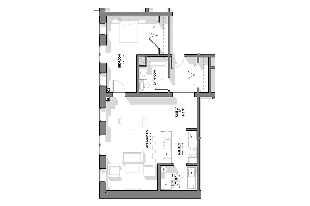 The Dauchy Building floor plan unit 3a 1 bedroom 1 bathroom
