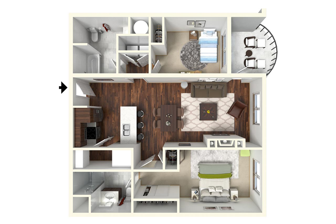 2 Bedroom 2 Bathroom floor plan at the Grove Saratoga Springs