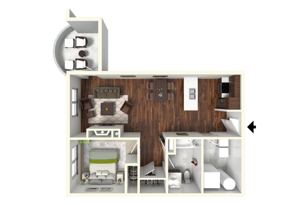 1 Bedroom 1 Bathroom floorplan the grove