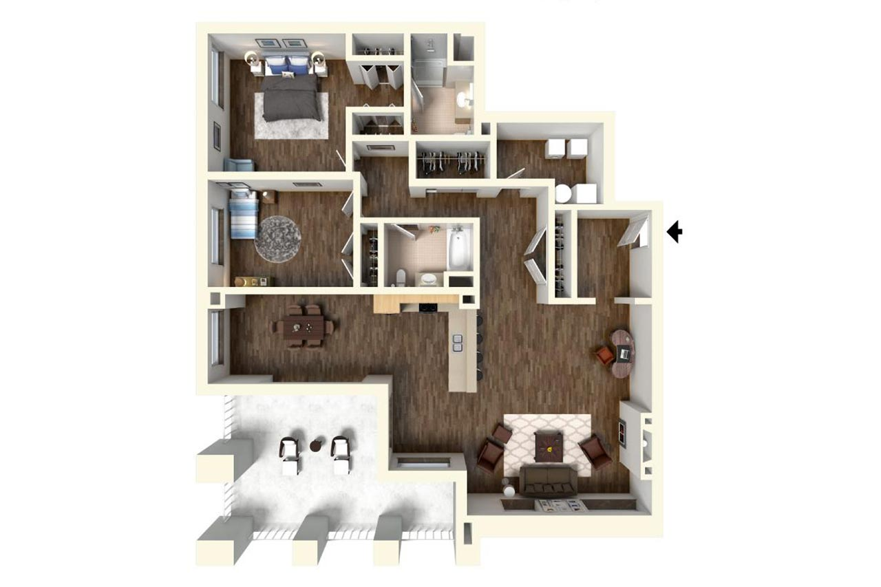 The Washington floor plan unit 301 2 bedrooms 2 bathrooms