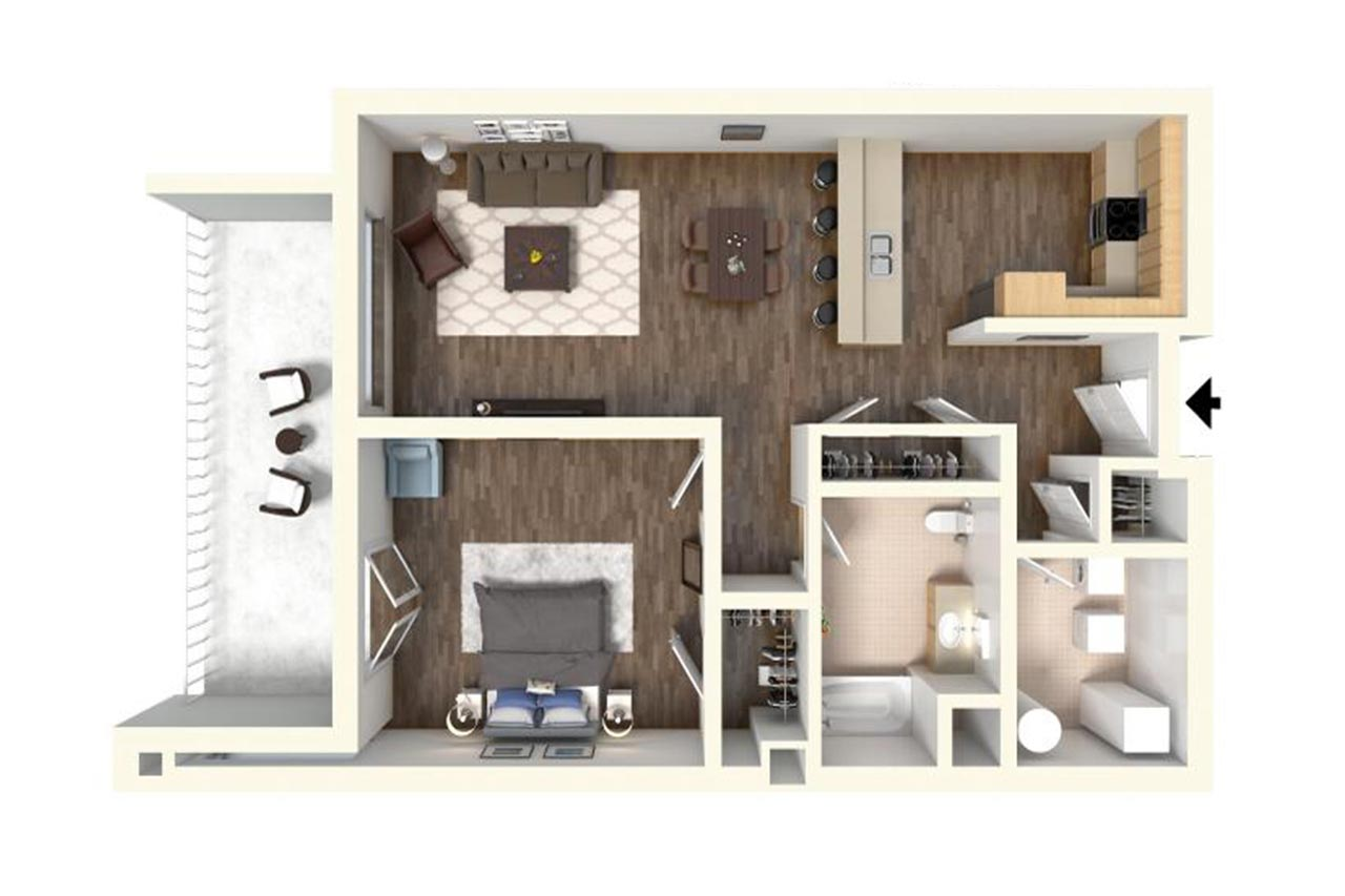 The Washington floor plan unit 303 1 bedroom 1 bathroom