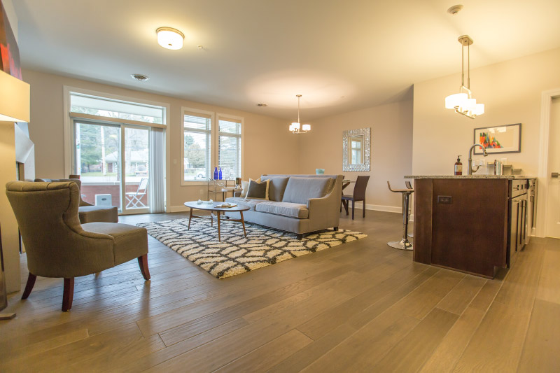 Saratoga Springs, NY luxury apartment home living room with hardwood flooring